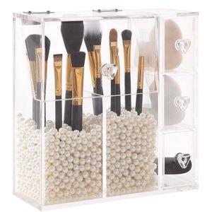 Acrylic MakeUp Brush Compartment Drawer Organizer